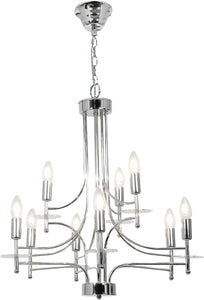 Polished Chrome Chandelier -9 x 60W SES Width 600mm Height 630mm Chain 1000mm