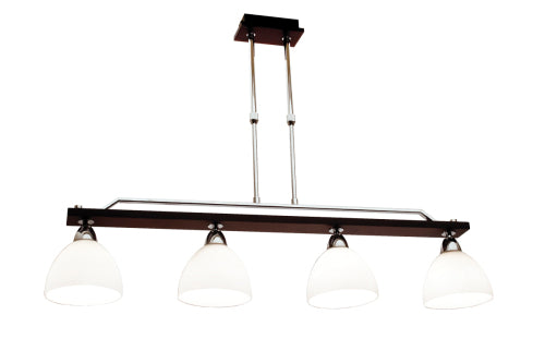 Polished Chrome and Wood Chandelier with White Glass Adjustable Rod -4 x 40W SES