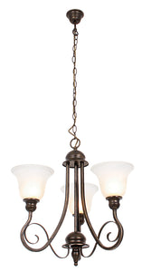 Metal Chandelier with Alabaster Glass -3 x 60W ES Width 500mm Height 550mm Chain 1000mm