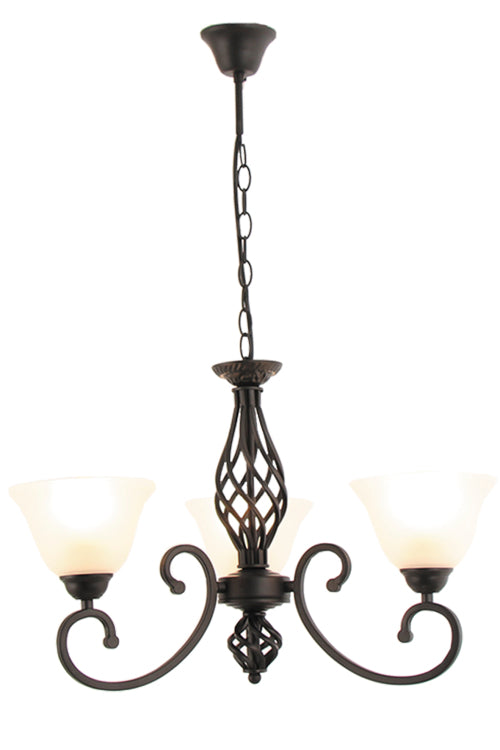 Metal Chandelier with Alabaster Glass -3 Light