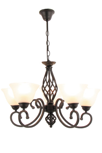 Metal Chandelier with Alabaster Glass - 5 Light