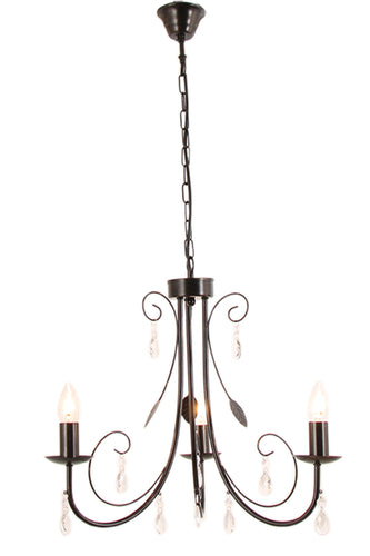 Metal Chandelier with Clear Arcylic Crystals - 3 Light