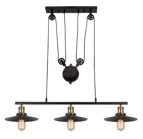 Matt Black Metal Light with Pulley Cord