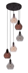 Metal Pendant with Crackle Glass - 6 Light