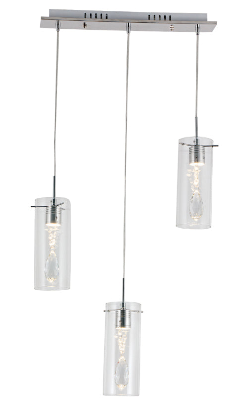 Pendant Crystal Polished Chrome LED with Clear Glass and Crystals -3 Light
