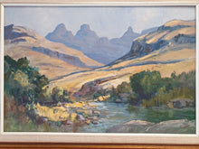Load image into Gallery viewer, An early original signed Anton Oldert Benzon oil on board of a mountain scene