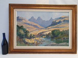 An early original signed Anton Oldert Benzon oil on board of a mountain scene
