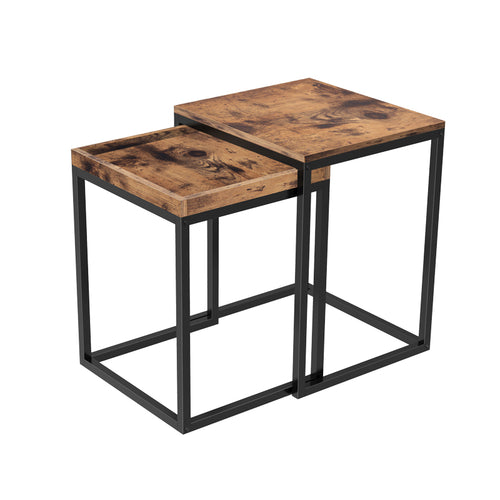 VASAGLE Living room bedroom industrial Wood Top Nesting Sofa Side End Laptop Snack Tray Table