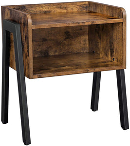 VASAGLE Retro Rustic Chic Wood Look Metal Legs Industrial Nightstand Stackable Side Table with Open Front Storage