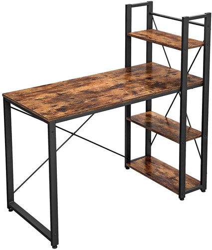 VASAGLE Home Office Industrial Modern Writing Study Wood Computer Desk with Bookshelf