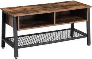 VASAGLE Living Room Industrial Style Brown Wood Metal TV Stand Cabinet