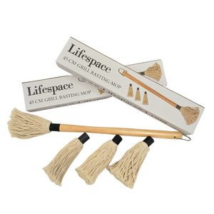 NEW PRODUCT Lifespace 45cm BBQ braai basting mop brush with 3 spare heads