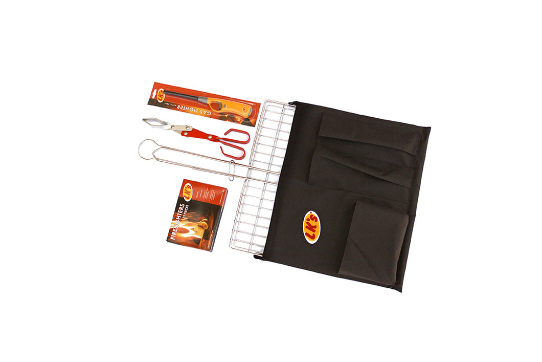 Braai Set and Canvas Bag - Big Box - Stainless Steel