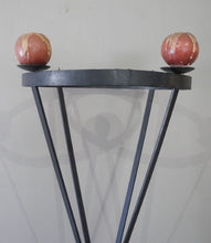 Load image into Gallery viewer, An awesome tall (170cm) black floor standing wrought iron 4-candle candle stand