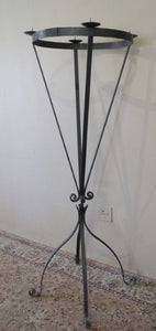 An awesome tall (170cm) black floor standing wrought iron 4-candle candle stand