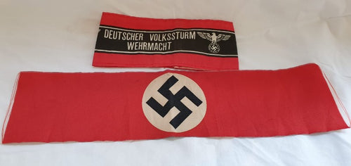 WWII Nazi German Army Swastika Arm Band and Deutsche Volssturm Wehrmacht band