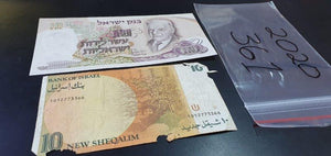 An Israeli 10 Lira note and 10 New Sheqalim note
