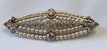 Load image into Gallery viewer, A vintage Art Deco diamond and pearl brooch set in gold
