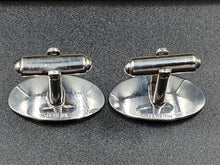 Load image into Gallery viewer, A pair of stamped sterling silver bullet back gents cufflinks engraved with an M