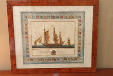 Load image into Gallery viewer, A Burr Walnut framed Trigatie Ship Print