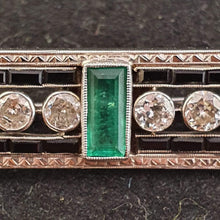 Load image into Gallery viewer, A Valentine's Treat… 10% off!  A magnificent custom Art Deco Platinum, large Emerald & Diamond brooch. 16 diamonds