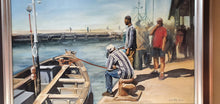 "Load image into Gallery viewer, An original framed and signed ""Lynne Marie Eatwell"" Dock scene oil painting on canvas"