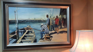 "An original framed and signed ""Lynne Marie Eatwell"" Dock scene oil painting on canvas"