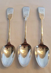 A set of three amazing antique (1843) British hallmarked sterling silver spoons