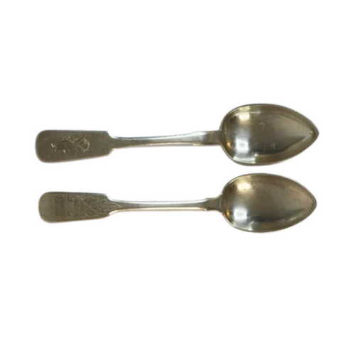 A wonderful set of four Russian 84 silver spoons