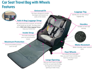 Car Seat Travel Bag with 4 Wheels