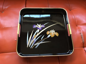 Vintage Japanese Orchid flower Laquer Ware Versatile Tray