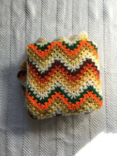 Load image into Gallery viewer, Vintage 1970's Vibrant Knit Chevron crochet blanket