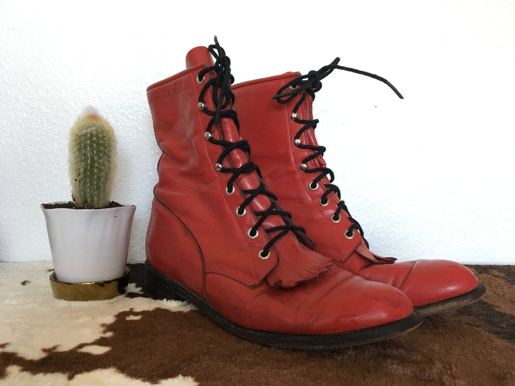 Vintage Justin Cherry Red Leather Western Roper boots