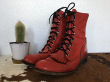 Load image into Gallery viewer, Vintage Justin Cherry Red Leather Western Roper boots