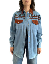 Load image into Gallery viewer, Vintage Denim Beaded Western Button Up