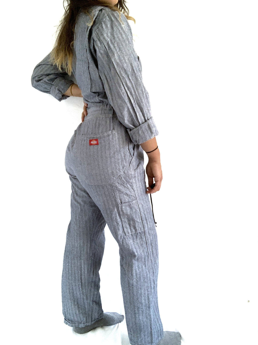 Dickies Blue Herringbone Pattern Jumpsuit