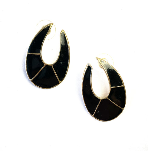 Vintage 1980s Black and Gold Earrings