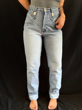 Load image into Gallery viewer, Vintage 1990s Lightwash Roper Jeans with Silver Detail