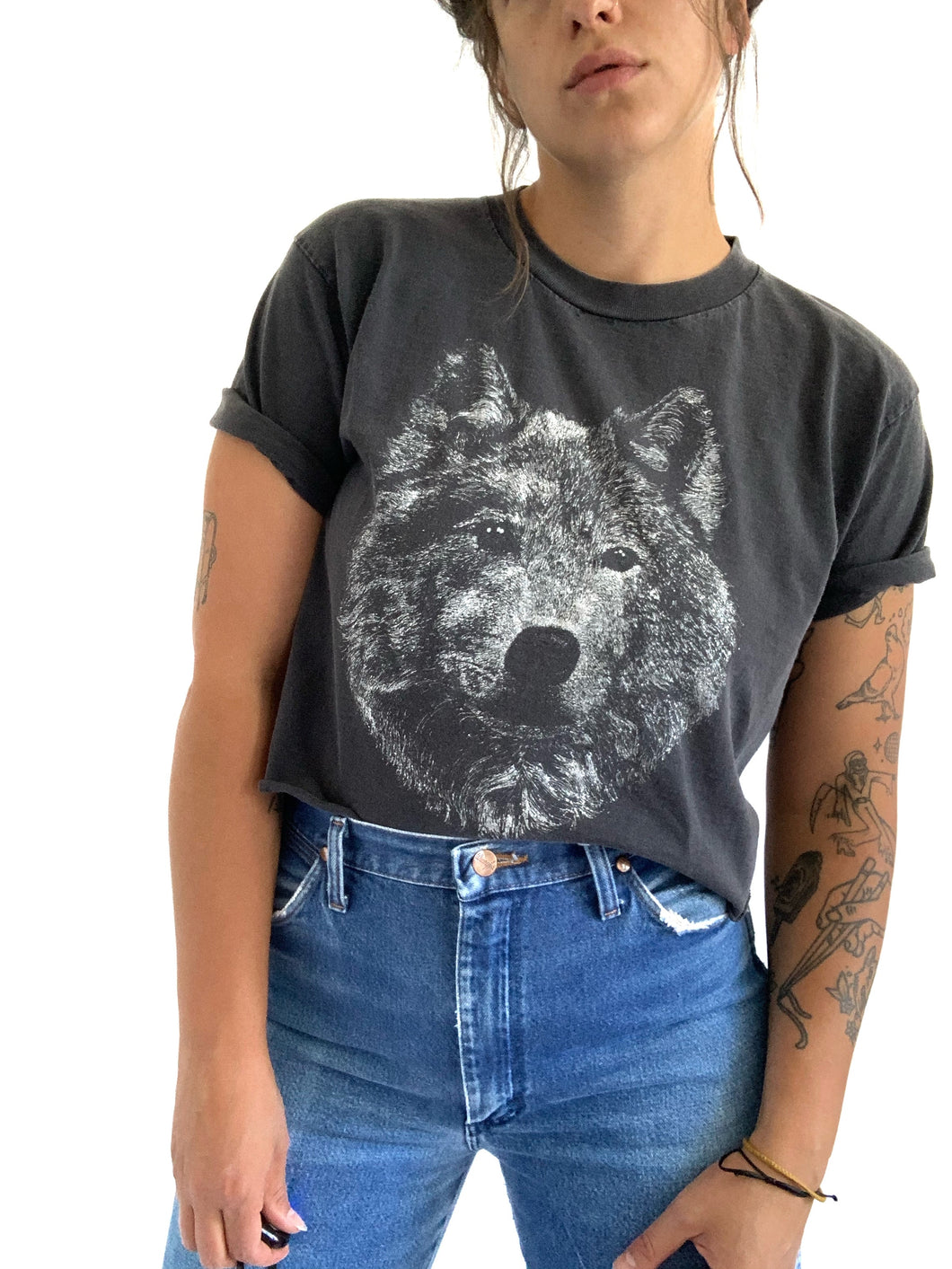 Vintage Faded & Cropped Wolf Tee