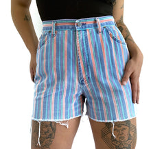 Load image into Gallery viewer, Vintage Faded Candy Stripe Cutoff Shorts