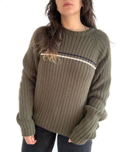Load image into Gallery viewer, Green Single Stripe Eddie Bauer Sweater