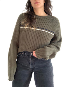 Green Single Stripe Eddie Bauer Sweater