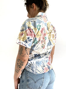 Vintage Abstract Floral Button Up