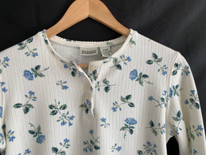 Vintage Floral Partial Button Front Long Sleeve