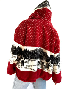 Vintage Red Sled Dog Thick Sweater Jacket