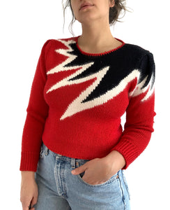 Vintage Red Explosion Sweater