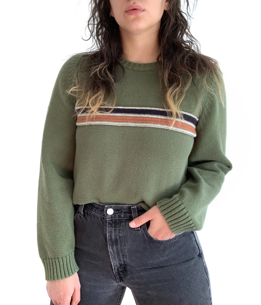 Comfy Green Stripe Sweater