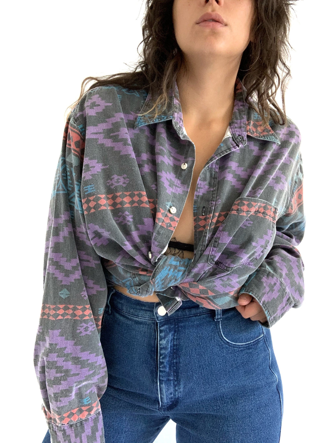 Vintage faded southwest button up