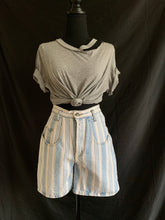 Load image into Gallery viewer, Vintage 1980's Blue and White Stripe Shorts