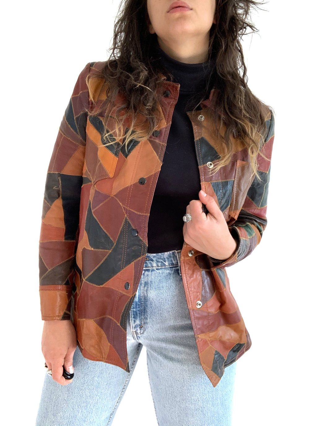 Vintage 1970s Montgomery Ward Leather Patchwork Jacket
